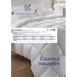 Couette Excellence (ultra light 140 g/m2) Légère Drouault