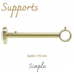 Support simple Non Sécable - Saillie 175 mm -- Tube Ø 28 mm Laiton Verni