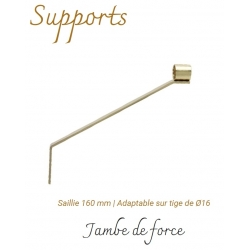 Support Jambe de Force -Saillie 160 mm - Adaptable sur tige de Ø16- Tube Ø 28 mm Laiton Verni