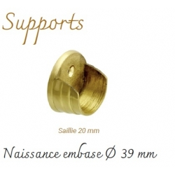 Support Naissance saillie 20 mm Embase Ø 39 mm Or Mat pour tube Ø 28 mm