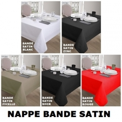 PHOTO PANORAMA NAPPE BANDE SATIN BLANC, ROUGE, NOIR, FICELLE ZINC - ANTITACHES - DEPERLANT par Equipementhotel.fr