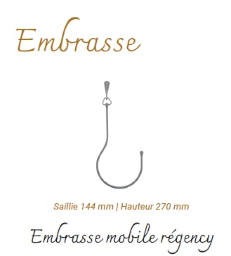 Embrasse Nickel Mat Saillie 144 mm Hauteur 270 mm